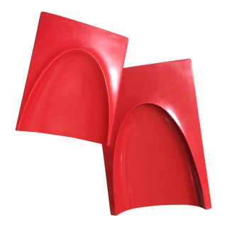 Mid-Century 1960s Red Plastic Bookends - A Pair