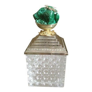 Modern Silver, Brass, and Malachite Optic Glass Box For Sale