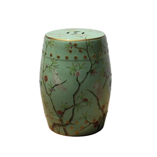 Light Pastel Green Porcelain Flower Birds Round Stool Ottoman For Sale