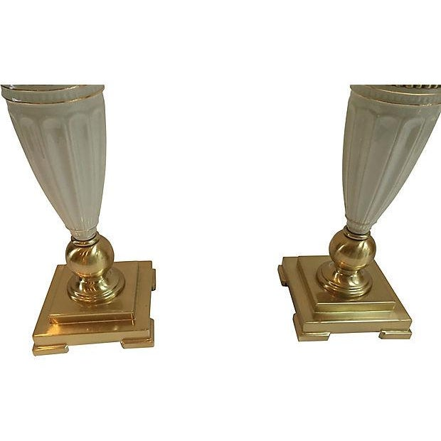 Lenox porcelain table lamps a pair chairish pair of brass and porcelain lenox table lamps with original silk shades original wiring and aloadofball Images