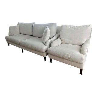 Modern Roll Arm Sofa and Matching Chair For Sale