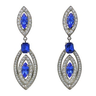 Italian Long Blue and Crystal Earrings For Sale