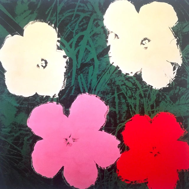 """Andy Warhol Andy Warhol Foundation Vintage Lithograph Print Framed Pop Art Poster """" Flowers III """" 1964 For Sale - Image 4 of 13"""