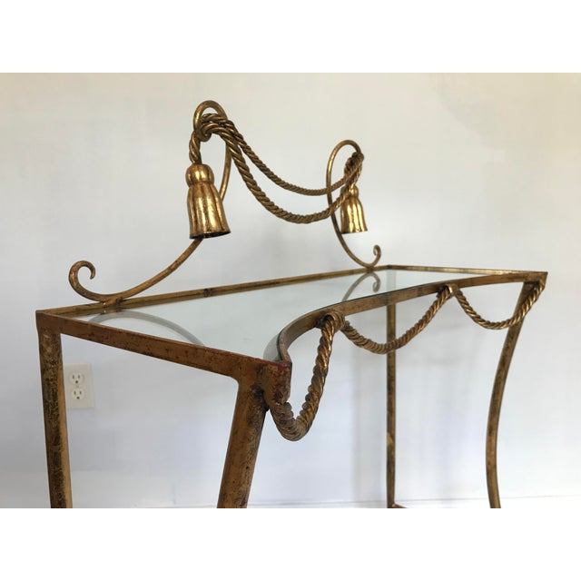 1960s Vintage Italian Gold Metal Faux Rope Tassel Hollywood Regency Vanity Console Table For Sale - Image 5 of 12