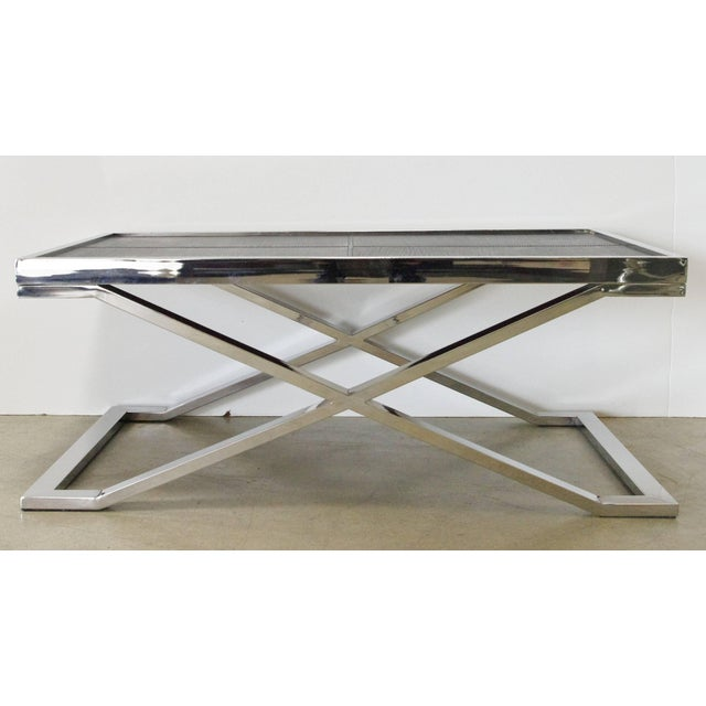 Stainless steel coffee table with pressed black leather designed by Fabio Bergomi / Made in Italy Depth: 24 inches /...