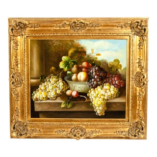 Fruit Still Life Oil / Canvas Painting in Giltwood Frame For Sale