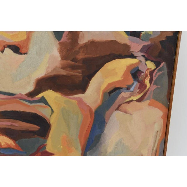 Abstract Large Mid-Century Abstract Oil Painting on Canvas For Sale - Image 3 of 10