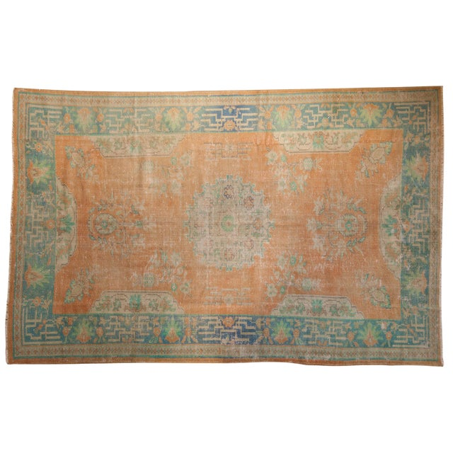 "Vintage Distressed Oushak Carpet - 6'2"" X 9'8"" For Sale"