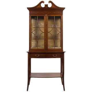 George III Style Mahogany, Satinwood and Marquetry Bookcase, 19th Century For Sale