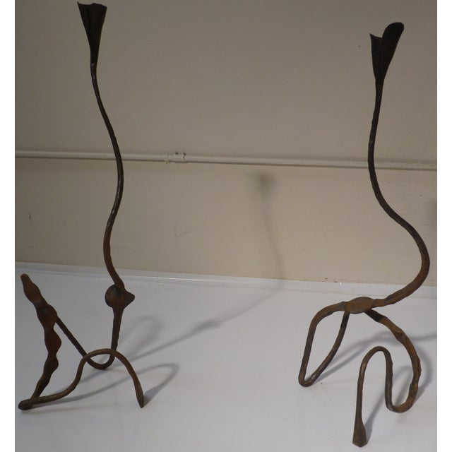 Pair of Vintage Forged Iron Candle Sticks - Image 3 of 6