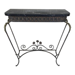 Louie XV Style French Wrought Iron and Marble Top Console Table For Sale