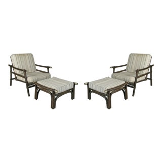 Ficks Reed Style Rattan Lounge Chairs & Ottomans - 4 Pieces For Sale