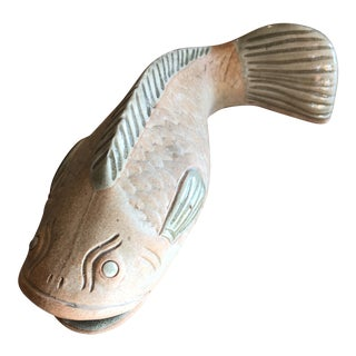 Vintage Flat Clay Fish Wall Pocket Vase For Sale