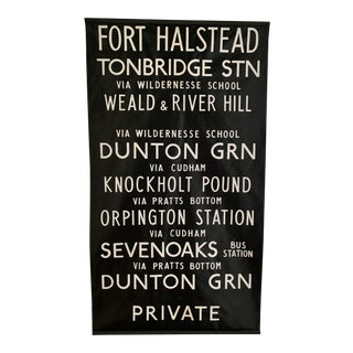 Antique British Bus Blind Poster Sign For Sale