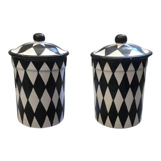 Set of Two Black and White Hand Painted Terracotta Sicilian Saltcellars For Sale