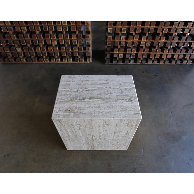 Mid-Century Modern Travertine Pedestal or Side Table, Circa 1975 For Sale - Image 3 of 12