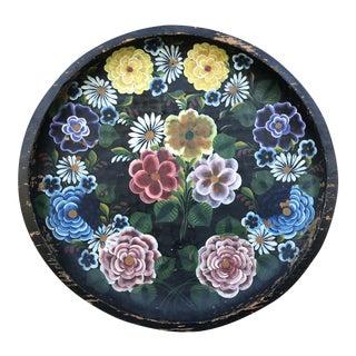 1930s Large Mexican Folk Art Batea Bowl Decorative Tray For Sale