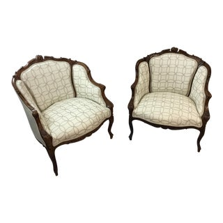 1920s Antique Carved Bergere Chairs- A Pair For Sale