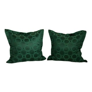 "24"" Square Pair of Jim Thompson Emerald Green Pillows in Asia Major For Sale"