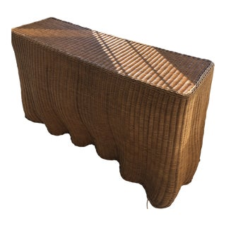 1980s Boho Chic Rattan Wave Console Table For Sale