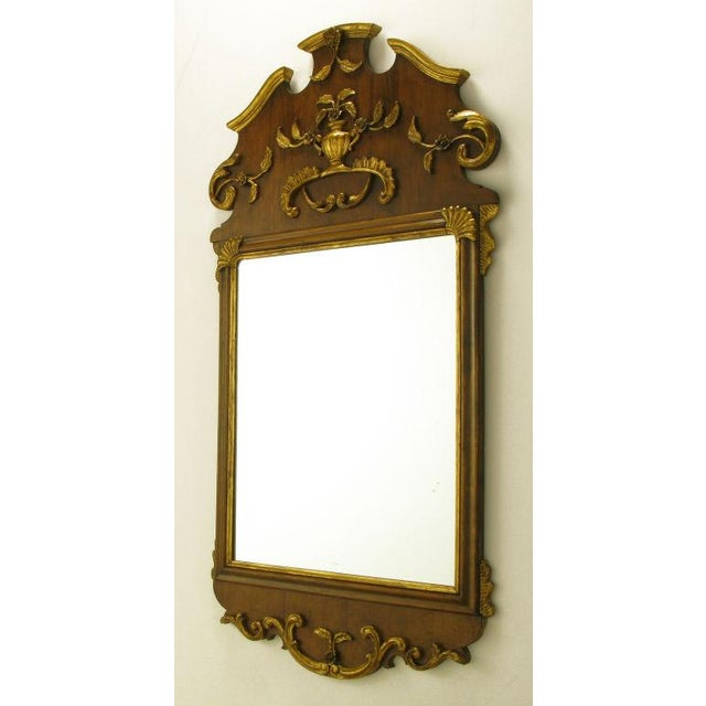 "Rococo 58"" Carved Walnut Parcel Gilt Italianate Mirror. For Sale - Image 3 of 7"