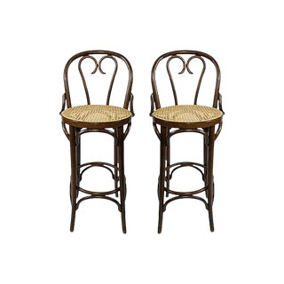 Caned Bentwood Bar Stools, Pair For Sale