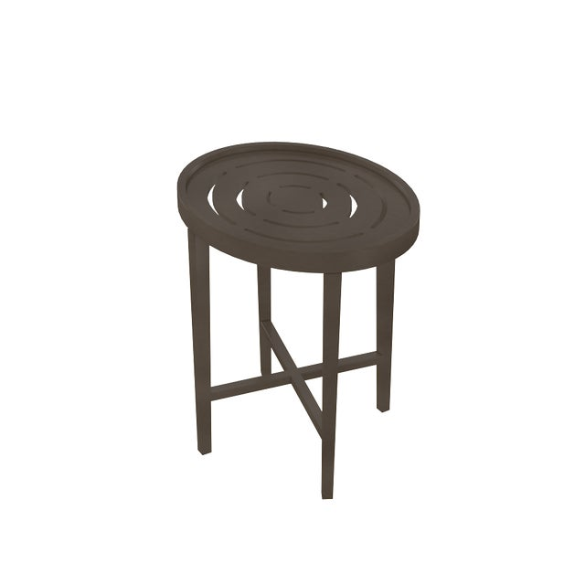 Oomph Oomph On the Rocks Oval Outdoor Side Table, Dark Gray For Sale - Image 4 of 5