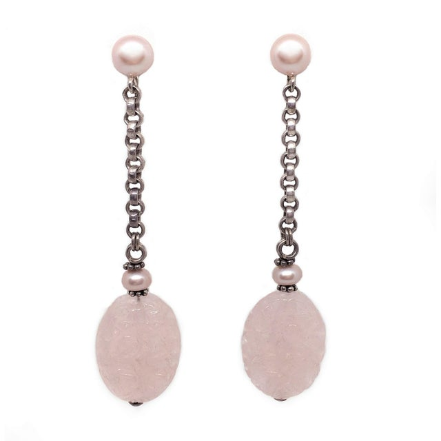 1980s Sterling Silver, Pink Pearl and Rose Quartz Drop Earrings For Sale - Image 5 of 5