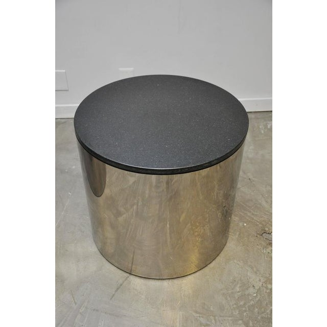 Paul Mayan Stainless and Black Granite Side Tables For Sale - Image 5 of 5