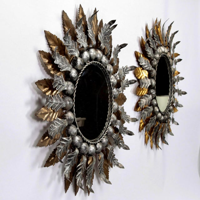 1960s Spanish Gilt and Silver Metal Sunburst Mirrors - a Pair For Sale - Image 5 of 10