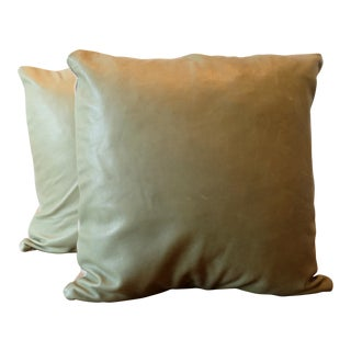Italian Lambskin Leather Pillow Covers - a Pair For Sale