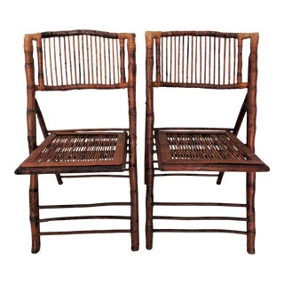 Vintage Folding Bamboo & Cane Dining/Side Chairs - a Pair (4 Pairs Avialable) For Sale