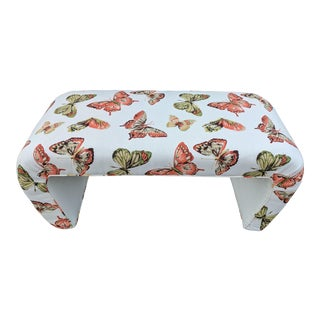 Vintage Butterflies Upholstered Linen Waterfall Bench For Sale