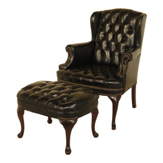 English Tranditional Black Tufted Leather Wing Chair and Ottoman For Sale