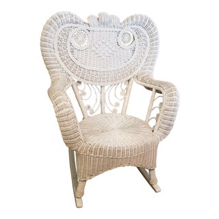 1990s Vintage White Wicker Rocking Chair For Sale