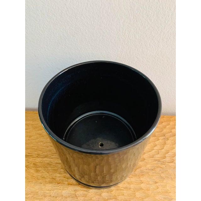 Mid-Century Modern Black Gainey Ceramics Planter Pot Plus Draining Platter Saucer For Sale - Image 9 of 10