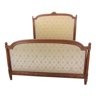 French Louis XVI Style Carved Walnut Queen Size Bed For Sale