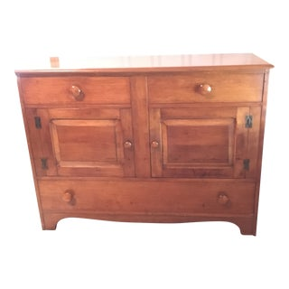 1940s Colonial American Style Maple Buffet Cabinet For Sale