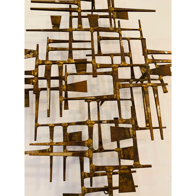 Abstract Abstract Mid Century Modern Brass Wall Sculpture For Sale - Image 3 of 11