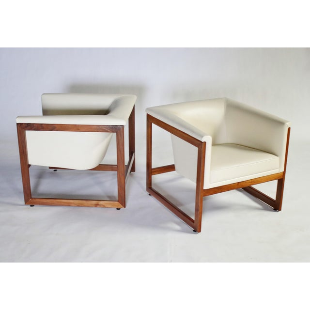 White Milo Baughman Floating Cube Club Chairs For Sale - Image 8 of 10