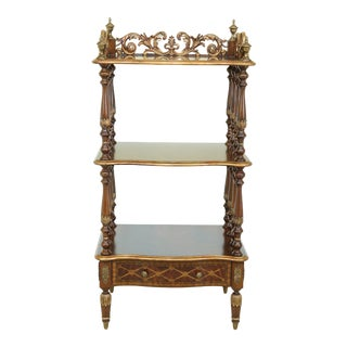 Maitland Smith Mahogany 3 Tier Etagere Shelf W. Inlaid Drawer For Sale