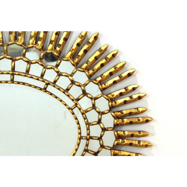 Mid 20th Century Mid-Century Modern Oval Sunburst Giltwood Mirror For Sale - Image 5 of 10