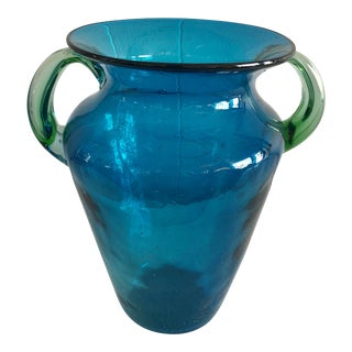 1980s Traditional Blue and Green Art Glass Vase For Sale
