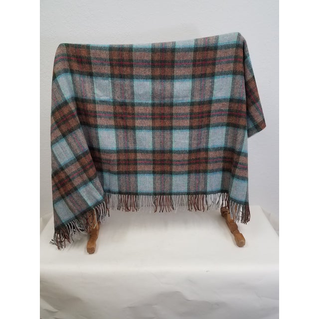 Wool Throw Red Blue Orange Plaid - Made in England For Sale - Image 4 of 12