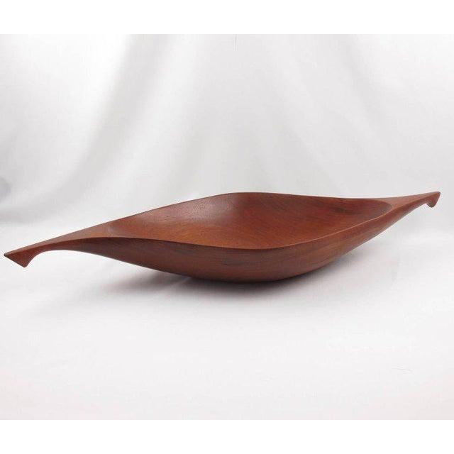 Red Arthur Umanoff for Raymor Mahogany Canoe Bowl Centerpiece For Sale - Image 8 of 9