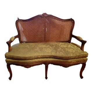 Vintage Caned Back French Provincial Louis XVI Settee For Sale