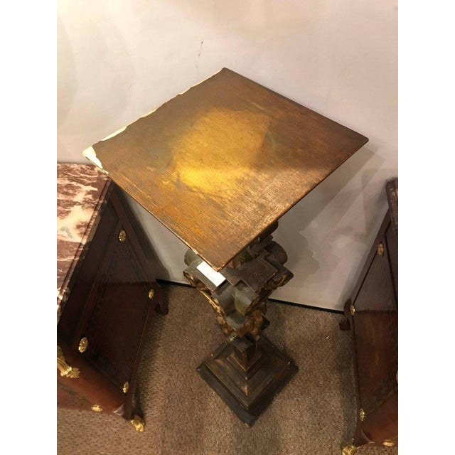 Wood A Continental Italian Gilt Distressed Continental Pedestal For Sale - Image 7 of 11