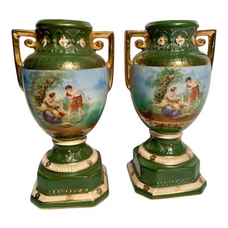 1920s Antique Czechoslovakia Hand Painted Urns - a Pair For Sale