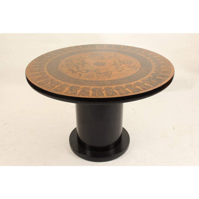 20th Century Egyptian Copperstyle Engraved Top Center Table For Sale - Image 11 of 11