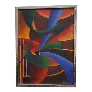 1970s Modern Op Art Acrylic Painting by Iris N. Glucoft, Framed For Sale